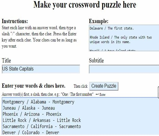 Make a Crossword - Step 3